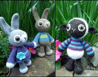 Woolly Jumpers Amigurumi Pattern - Rabbit and Lamb Crochet Pattern PDF