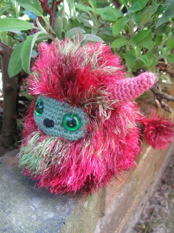 Pink and Green Snook - Amigurumi Creature - RESERVED FOR narie1