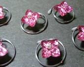 Adorable Vintage Pink Flower Hair Swirls with Rhinestone Center Hair Spins Spirals Twists