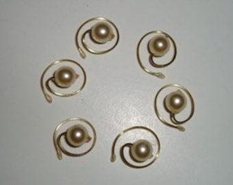 Hair Swirls Twists Spins Spirals Coils Cream Bridal Simulated Pearls