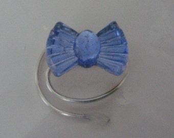 Vintage Blue Bow Hair Swirls Spins Spirals Twisties Coils Twists Prom Hairdo Jewels Pageant Hair Ballroom Dancer