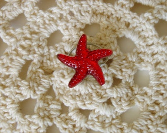 Starfish Hair Swirls Twists Spins Spirals Beach Wedding Hair Accessory in Red Acrylic