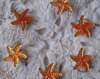 Starfish Hair Swirls Twists Spins Spirals for Beach Wedding Party in Orange Topaz Acrylic