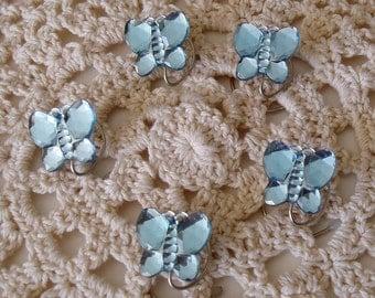Light Blue Hair Jewels Butterfly Hair Swirls Spins Spirals Twisties Acrylic Coils