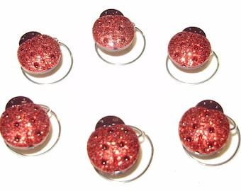 Darling Glitter Ladybug Hair Swirls Set of 6