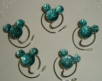 MOUSE EAR Hair Swirls for Themed Wedding in Dazzling Aqua Blue Acrylic
