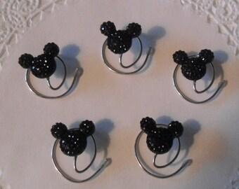 MOUSE EARS Hair Swirls for Disney Wedding in Dazzling Black Acrylic