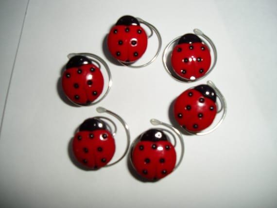Darling Ladybug Hair Swirls Set of 6 Coils Debs Twisties Twists Spins Spirals