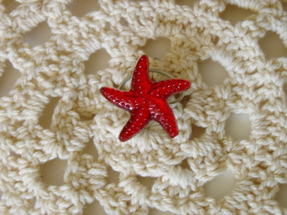 Starfish Hair Swirls Twists Spins Spirals for Beach Wedding Party in Red Acrylic