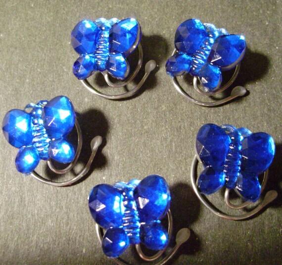 Sparkling Royal Blue Butterfly Hair Swirls Hair Spins Hair Coils Hair Spirals