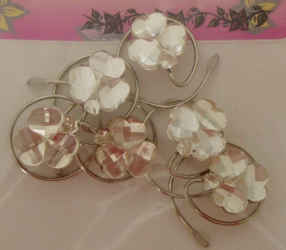 6 Irish Wedding Crystal Clear Shamrock Hair Swirls Hair Spins Spirals Twists or Coils