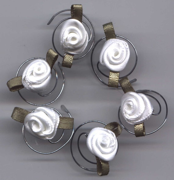 Bridal White Roses Hair Swirls Spins Twists Wedding Spirals Coils-Bridesmaids-Flower Girls