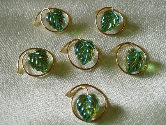 Autumn Wedding-Hair Swirls-Simulated Peridot AB-Leaf Hair Spins- Twists-Coils-Spirals-Bridal Party