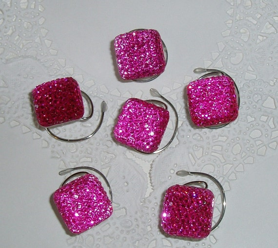 6 Hair Swirls in Dazzling Bright Pink Squares  Perfect for Prom or Bridesmaids