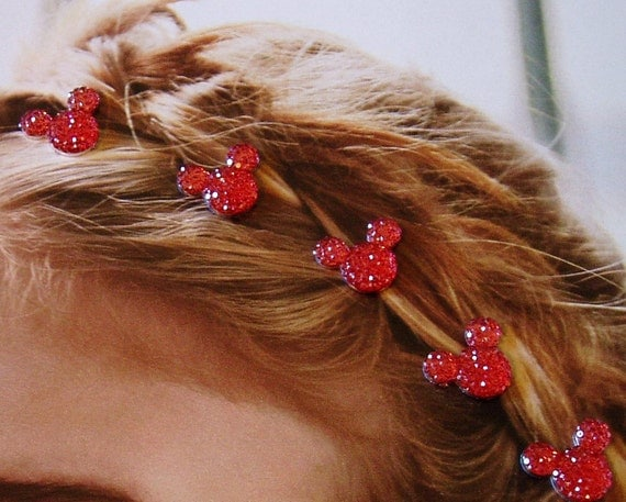 MOUSE EARS Hair Swirls for Themed Wedding in Dazzling Red Acrylic