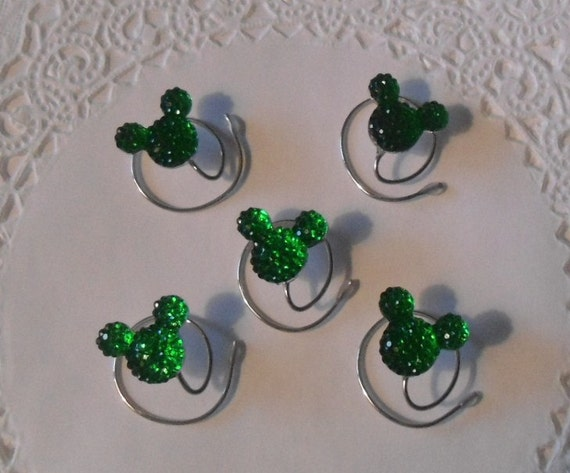 MOUSE EARS Hair Swirls for Disney Wedding in Dazzling Green Acrylic