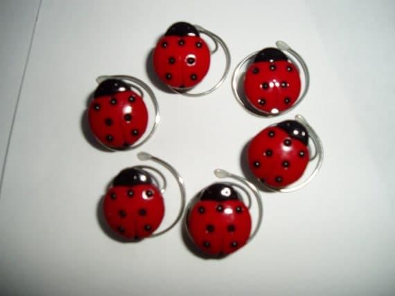 Ladybug Hair Swirls Set of 6 Hair Twists Spins Spirals Coils Twisties