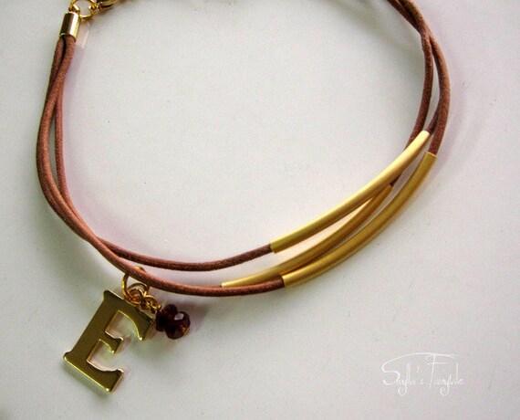 Leather letter charm bracelet - Hot Cocoa