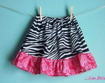 Lillian Belle Girls Ruffle Skirt Zebra Black White and Pink Print Custom Size 6M 12M 18M 2T 3T 4T 5 6
