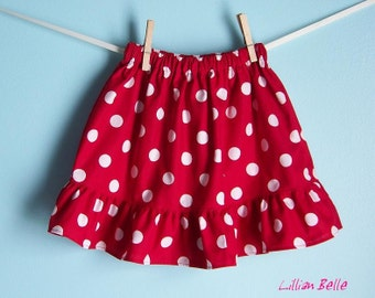 Lillian Belle Girls Ruffle Skirt Minnie Red and white Polka Dot Custom Size  6M 12M 18M 2T 3T 4T 5 6