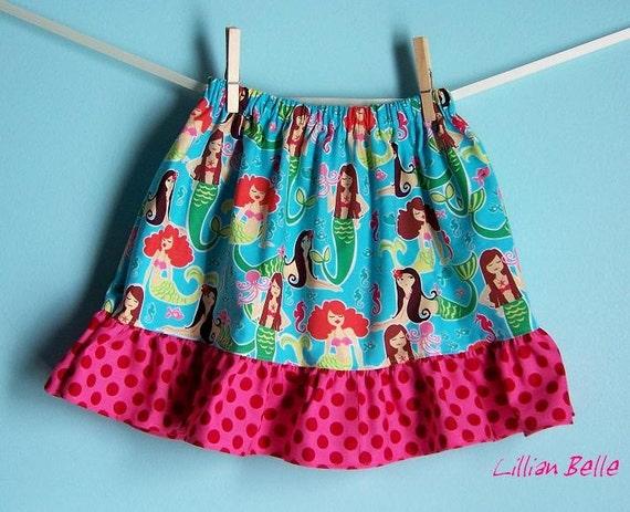Lillian Belle Girls Ruffle Skirt Mermaid Diva Sea Beauties / Polka Dot Custom Size  6M 12M 18M 2T 3T 4T 5 6