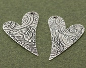 Set of Trinity Brass Floral Engraved Heart Drop Charms in Antiqued Silver- 17x26mm
