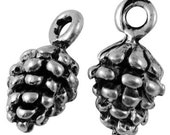 10 Pendant with Pine Cone Shaped in Antiqued Silver- 13x7mm
