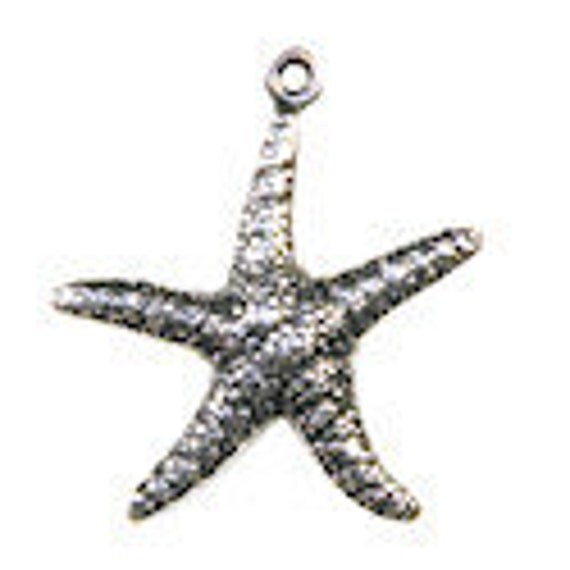 2 Trinity Brass Starfish Charms in Antiqued Silver- 20x23mm