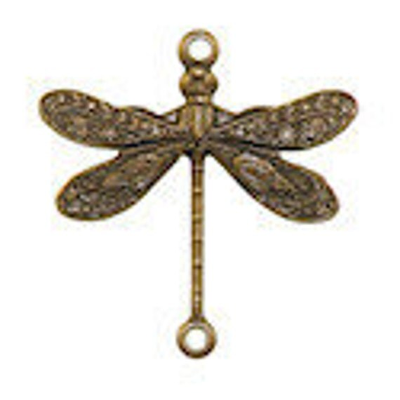 4 Trinity Brass Small Dragonfly Connectors in Trinity Vintage Patina-17x16mm