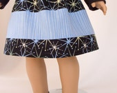 """18"""" inch doll clothing, American Girl doll clothes, black and blue, stars and stripes, AG skirt, handmade, PattiKuz, designer cotton fabric"""