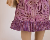 Ruffle Tulip Skirt Outfit American Girl Doll Clothes 18 Inch Doll Skirt Purple and Gold Peacock Feathers