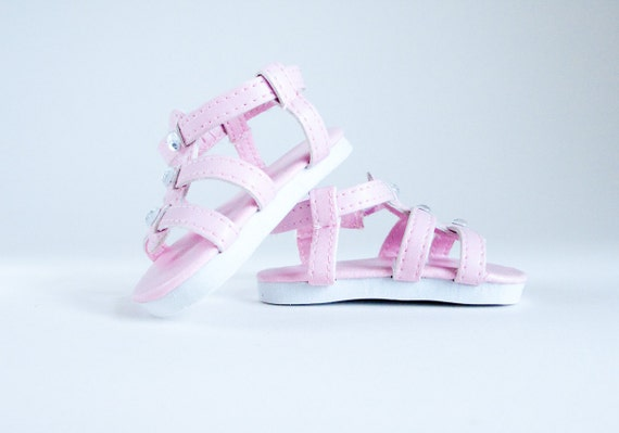 """American Girl Doll Shoes Pink Embellished Sandals for Spring 18"""" Doll Clothes"""