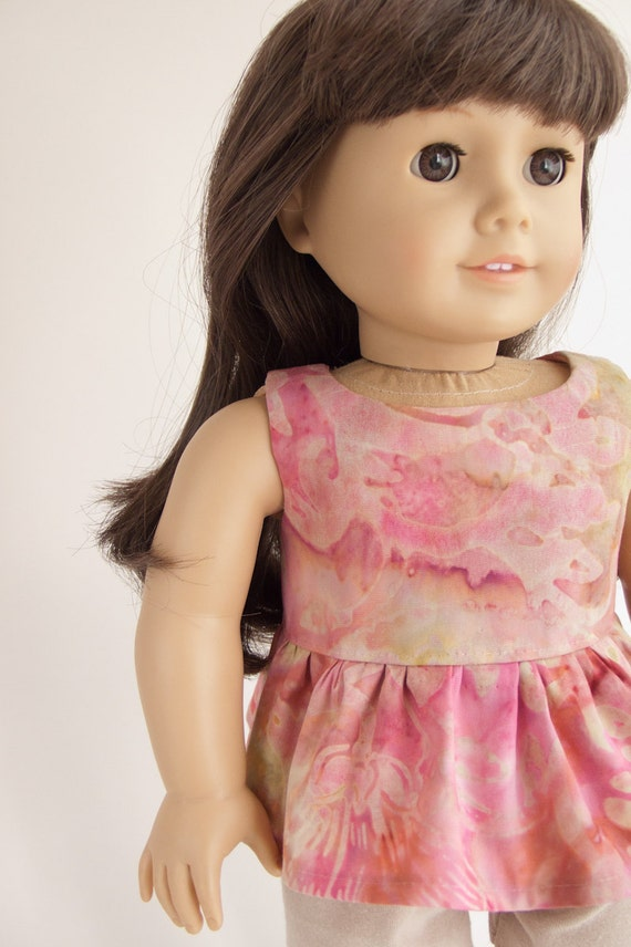 "Modern American Girl 18"" Inch Doll Clothing Pink Gold Batik Peplum Tunic Top Shirt by PattiKuz"