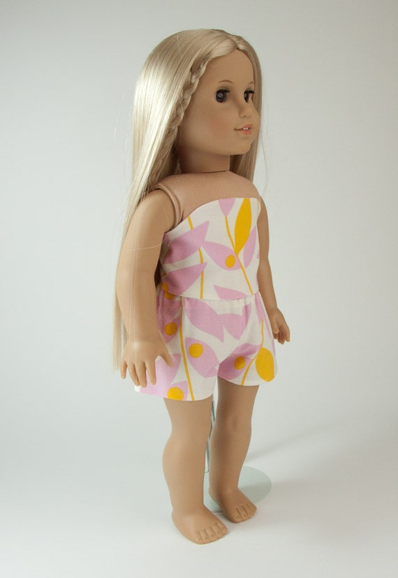 "American Girl doll clothes - summer beach shorts set, outfit for 18"" dolls in Tangerine Lindy Leaf by PattiKuz"