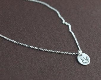 Queen for a Day. Tiny sterling silver hand stamped crown necklace.