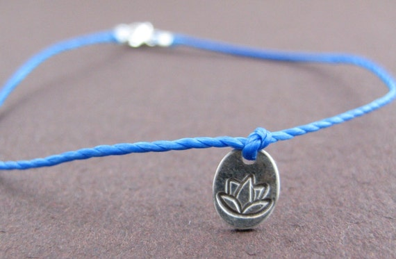 Lotus.  Sterling Silver Hand Stamped Lotus Bracelet on Cord.