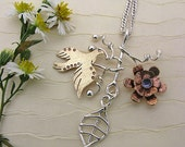 Peace dove sterling silver bird necklace or pendant - bird on branch - bird and leaf and flower - tanzanite -  handmade nature jewelry