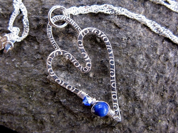 Sterling Silver Heart Necklace with Blue Lapis and Swarovski Crystal