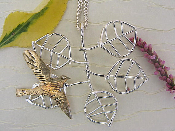 Handmade Sterling silver flying bird necklace or pendant - wire leaf necklace - nature jewelry - bird branch necklace
