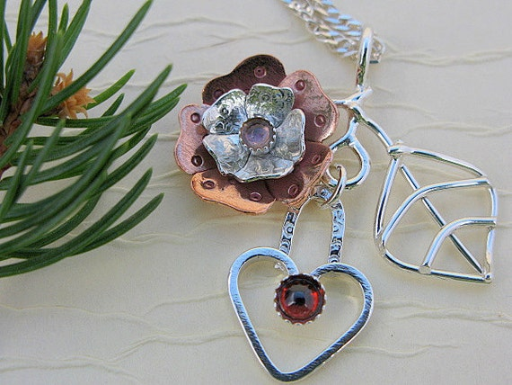 Valentine's day - heart necklace or pendant - silver heart necklace -  mixed metal flower and leaf necklace - pink tourmaline red garnet