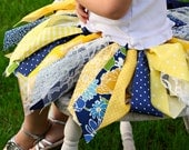 Fabric Scraps Tutu Skirt  Navy and Yellow MADE TO ORDER size Newborn to 4T
