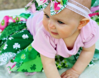 Fabric Scrap Tutu Skirt St Patricks Day  Irish Pink and Green Made to Order size Newborn to 4T
