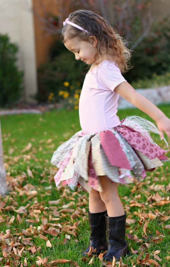 Fabric Scraps Tutu Skirt Shabby Chic Pink and Brown  Made to Order size Newborn to 4T