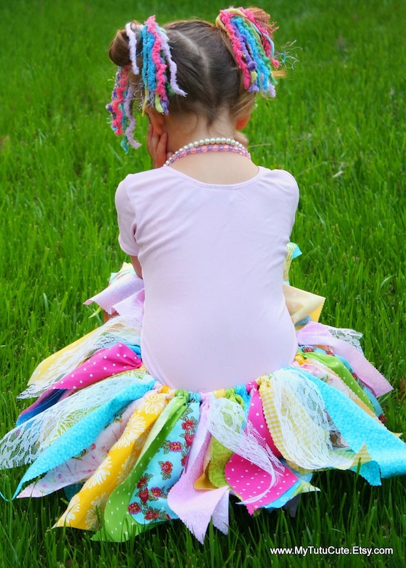 Rainbow Sherbet Fabric Scraps Tutu Skirt MADE TO ORDER size newborn to 4T
