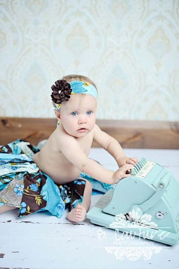 Fabric Scraps Tutu Skirt Shabby Chic Teal and Brown  MADE TO ORDER size Newborn to 4T Plus matching Headband