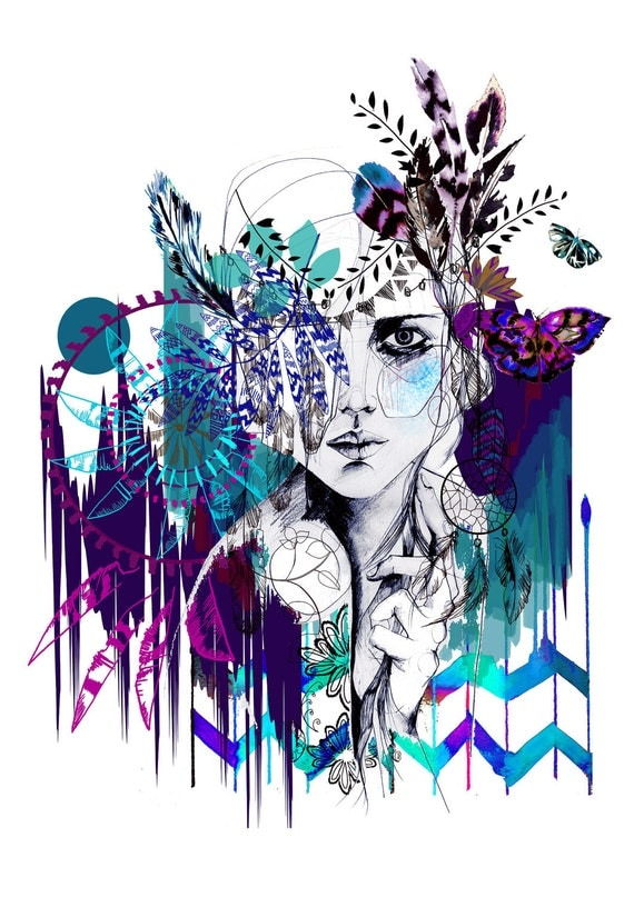 Tribal Girl  - colourway -  // FASHION ILLUSTRATION // Signed A3 Giclée print