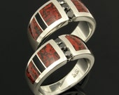 His and Her Dinosaur Bone Wedding Ring Set with Black Diamond Accents in Sterling Silver