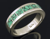 Spiderweb Turquoise Inlay Ring in Sterling Silver by Hileman Silver Jewelry