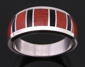 Fossilized red horn coral inlay sterling silver ring by Hileman Silver Jewelry