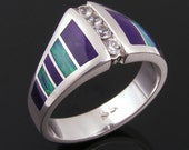 Australian opal and sugilite inlay ring with white sapphires by Hileman Silver Jewelry